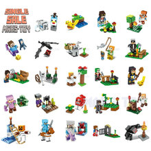 Single Sale HOT Minecrafted Action Animals Figures Toys Steve Alex Witch  Skeleton Compatible LegoINGlys Blocks DIY Series 8IN1