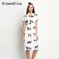 Animal Print Dresses 2018 New Style Short Sleeve V neck Dress Knee Length Casual