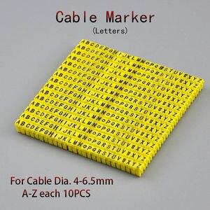 260 шт., маркер для кабеля 4 sqmm, желтая буква A to Z, 10 шт., для кабеля 4 мм2