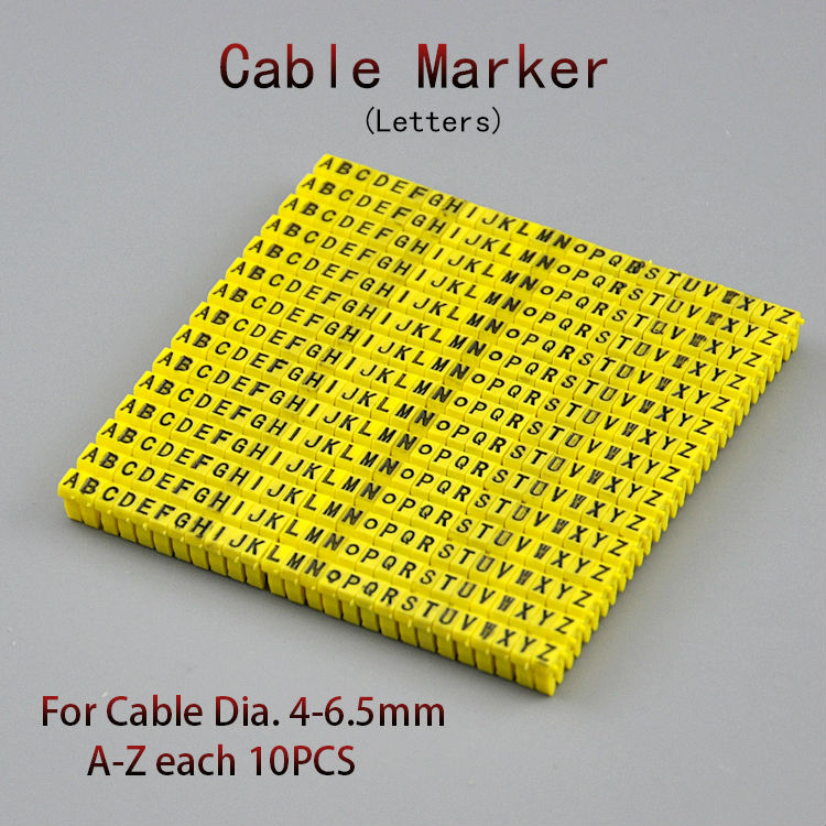 260PCS Cable Marker For 4 sqmm Yellow Letter A to Z Each 10pcs Distinguish Wires for 4mm2 cable