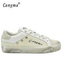 CANGMA Original Luxury Men Sneakers Casual Shoes White Basse Cow Suede Leather Hemp Handmade Leisure Shoes Merk Schoenen 34-48