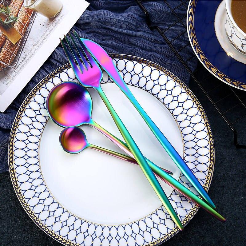 KuBac Hommi 24 pcs Rose Or Couverts Noir Vaisselle Fourchettes Couteaux Cuillères Ensemble 18/10 Arc-en-ciel En Acier inoxydable Argenterie Ensemble