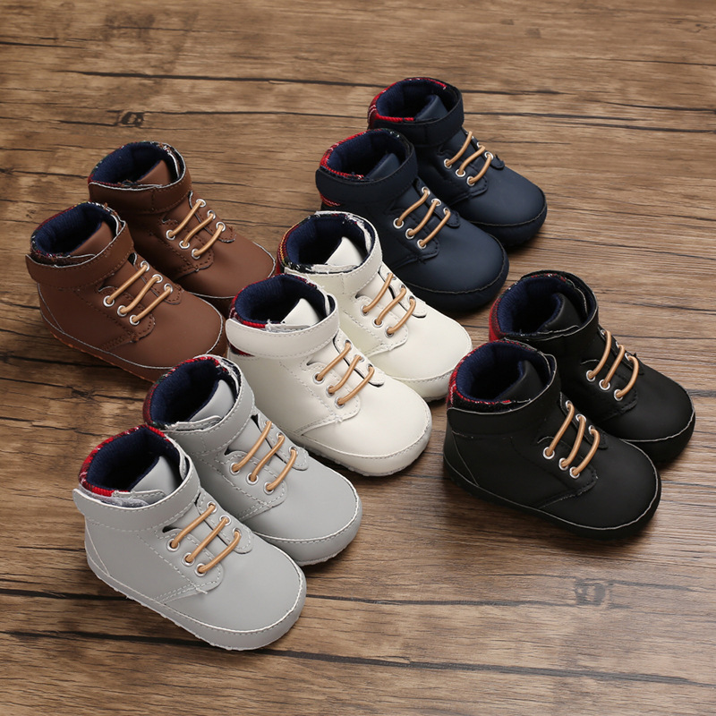 New male baby high tube cute soft bottom PU leather newborn baby first Walkers Baby Shoes child boy shoes non-slip baby shoes(China)
