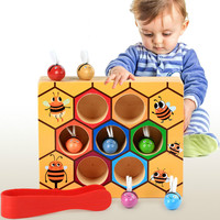 Children Early Educational Novelty Montessori Wooden Clip Bee Beehive Game Kids Catch Worm Color Cognition Toy
