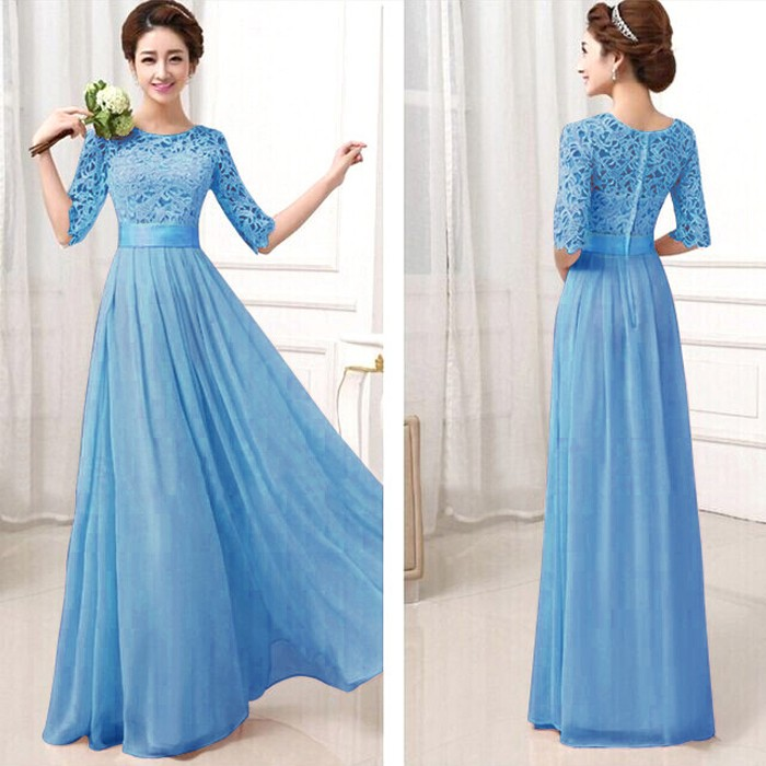 Elegant Lace Sleeve Chiffon Womens Long Formal Dress 1