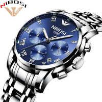 Saat Uhr Männer Gold Luxus 2018 NIBOSI Voller Stahl Armbanduhr Marke Kleid Herren Uhren Blau Uhren Herren Wasserdicht