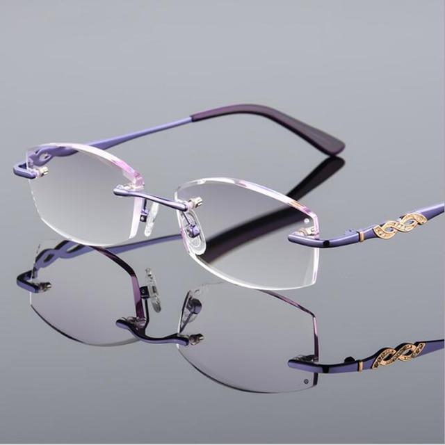 90a1dca0dff3 New Fashion Reading Glasses Women Eyewear Diamond Cut Rimless Reading  Glasses With Rhinestones Eyeglasses Lightweight Glasses