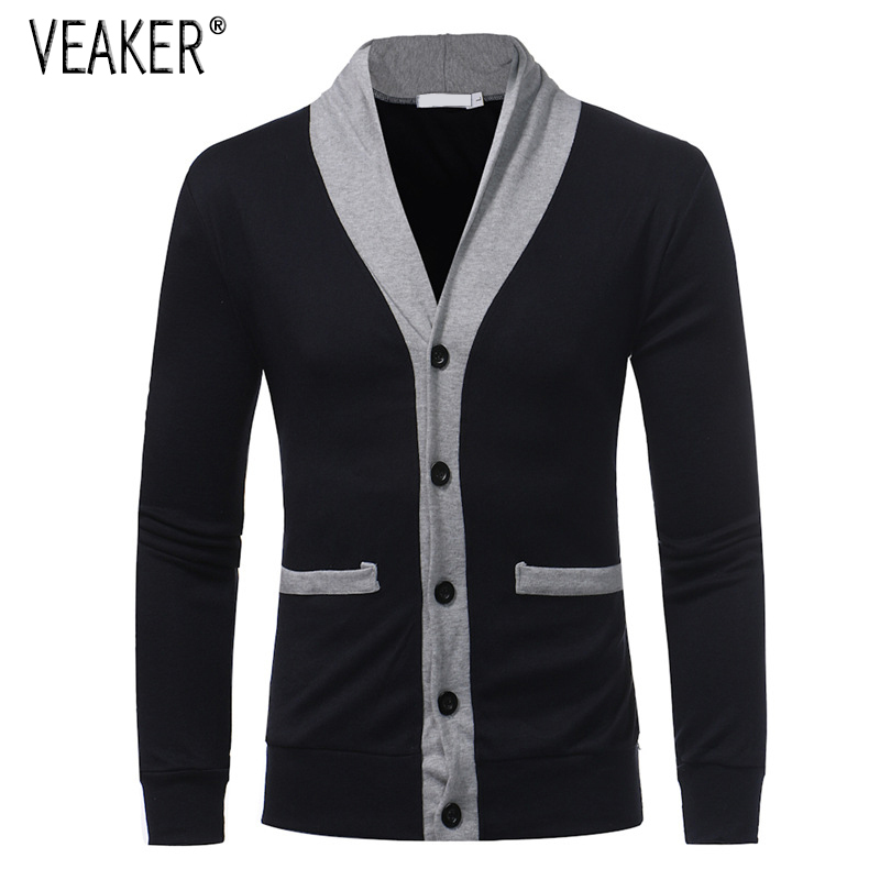 2019 Autumn Men's Casual Sweater Coat Men Casual Patchwork Slim Fit V-Neck Knitted Sweater SweaterCoat M-2XL