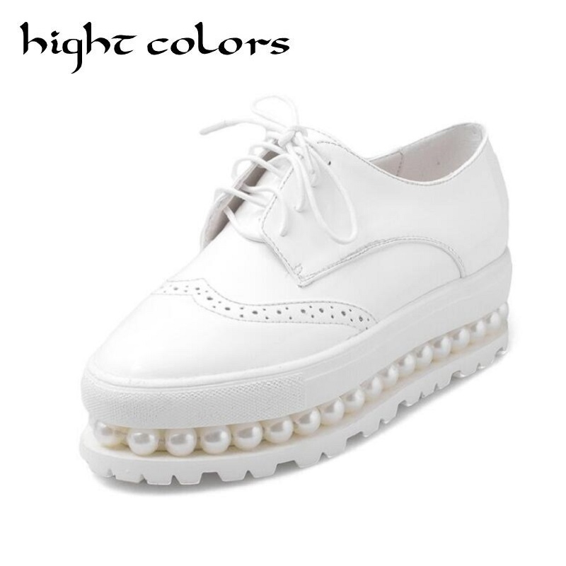 Beading Thick Bottom PU Leather Flats Women Brogue Shoes Lace-up Oxfords For Women Black White Platform Shoes Woman US Size 10.5 qmn women crystal embellished natural suede brogue shoes women square toe platform oxfords shoes woman genuine leather flats