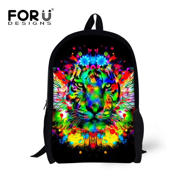 FORUDESIGNS Fashion 16inch Children School Bag Cool Kids Animal Printing Animal Schoolbag Teenager Boys Go Travel Bag