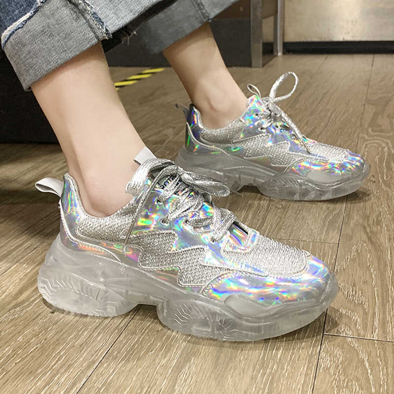 30189e58f0 Women Sneakers 2019 Crystal Glitter Sneakers Shoes Woman Transparent ...