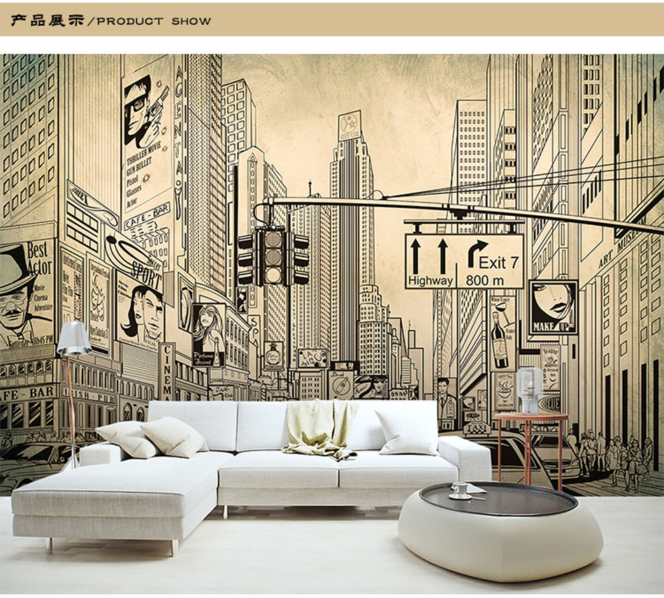 aliexpresscom buy europe architecture sketch city landscape building wallpaper mural rolls for wall covering living room bedroom cafe shop decor from
