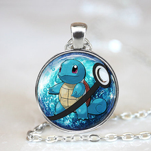 2016 New Anime Jewelry Squirtle Pokeball Necklace // 27 mm Round Pokemon Necklaces & Pendants