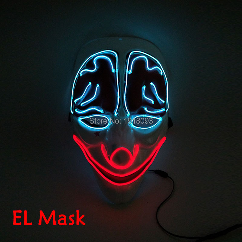 New arrival Halloween Mask Clown Mask Steady On LED Strip EL wire Glowing Neon light Mask For Carnival Crazy Discos Party