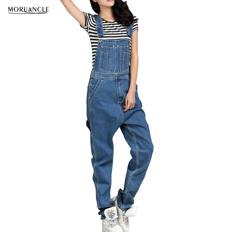 MORUANCLE Fashion Women's Denim Bib Overalls Loose Baggy Jeans Jumpsuits Bodysuits Suspender Pants Plus Size 28-46 s 5xl 2017 spring new plus size men s denim overalls loose pants tooling jeans rompers bib pants jumpsuits costumes