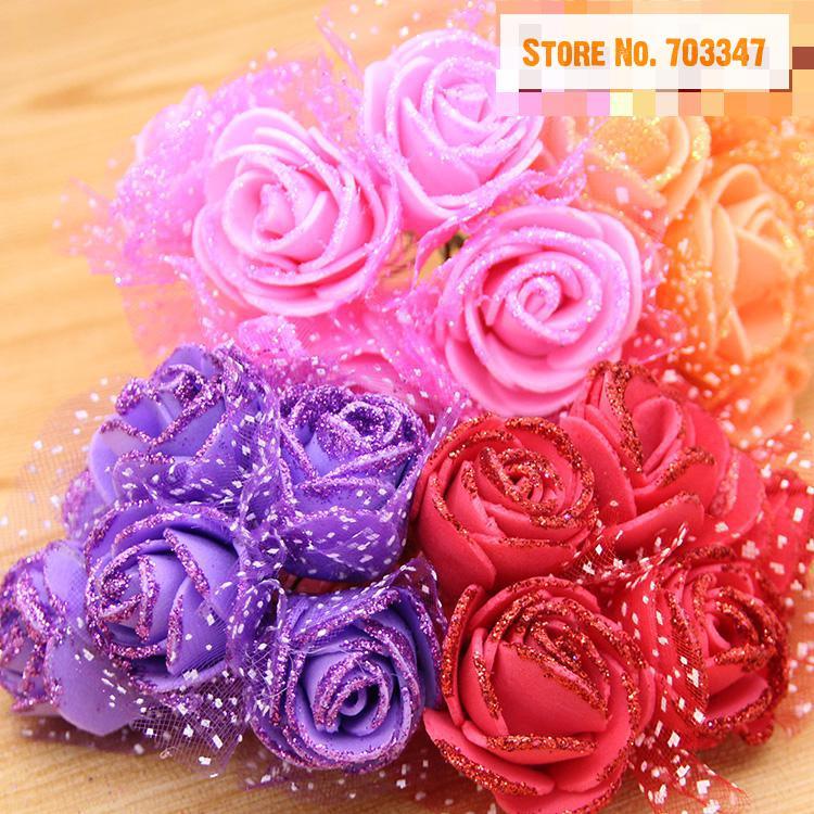 720PCS/lot)3.5cm Scrapbook Artificial Glitter Flower Bouquets For ...