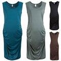Maternity Sleeveless Knee-Length T-shirt Dress Cotton Pregnant women sleeveless Skirt Vest Dress 4 Sizes for Optional