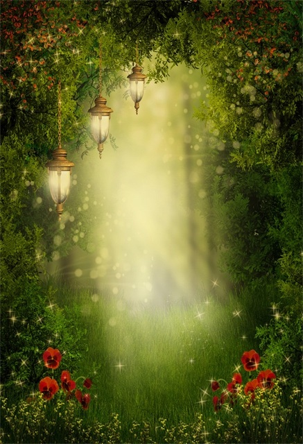 Laeacco Fairytale Forest Lamps Flowers Pathway Photography