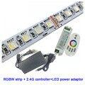 1 компл. X Лидер продаж 5050smd 60LED/m 5 м/рулон 12В/24В RGBW Светодиодная лента + 2 4G светодиодный контроллер + светодиодный блок питания Бесплатная дост...