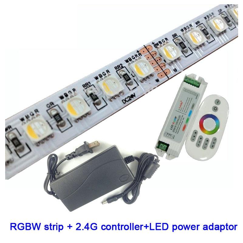 1 SetX offres spéciales 5050smd 60 LED/m 5 m/Roll 12 V/24 V RGBW LED bande + 2.4G LED de contrôle + adaptateur de alimentation LED livraison gratuite