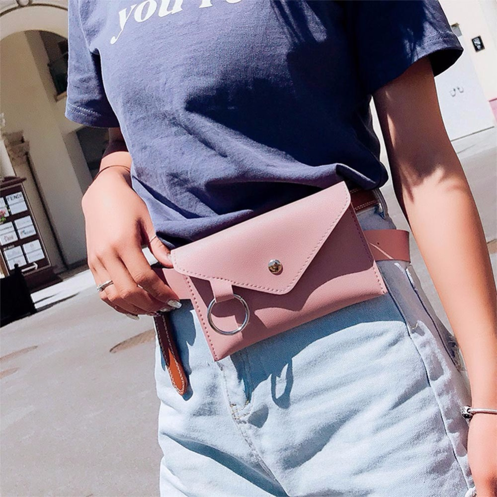 Fashion Rivet Lady Waist Pack Women Belt Pouch Bag Mini Designer Phone Pouch Bags New Envelope PU Leather Belt Pack For Clothing
