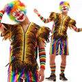 Мужской Многоцветный Радуга живопись кожаный Жилет Шорты набор Ночной Клуб певец партия показать xmas фестиваль перформанса комплект
