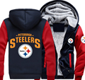 USA size Steelers Football Team Men Women Thicken Fleece Zipper Hoodie Jacket Clothing Casual Coat