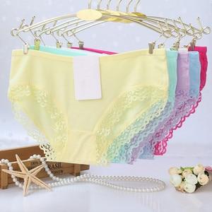 Image 1 - 5pcs/lot cotton girls underwear solid low waist short briefs comfortable Antibacterial woman panties 100% brand new