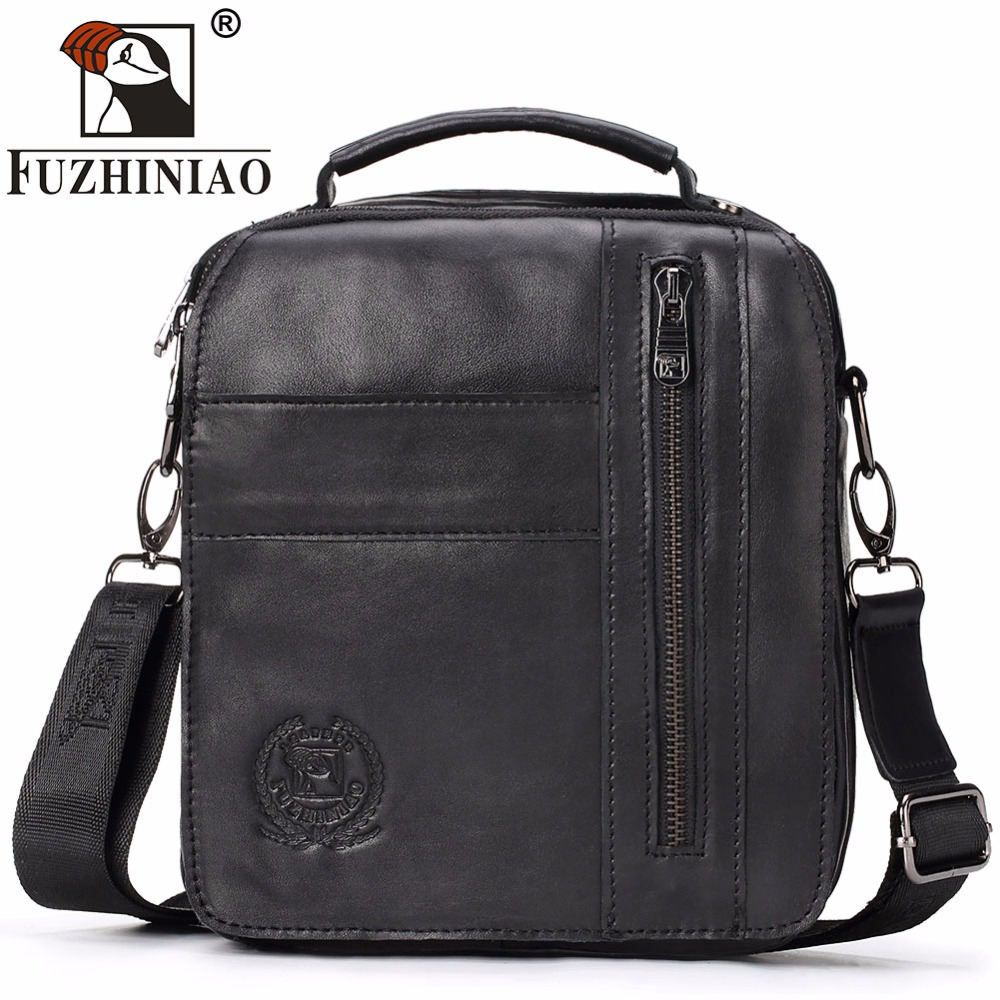 FUZHINIAO New Design Men Shoulder Bags Famous Brands Travel Genuine Leather Messenger Bag High Quality Fashion Male Handbags iceinnight genuine leather bags new design handbag women famous brand messenger bags high quality travel shoulder bag for female
