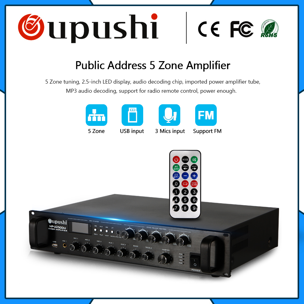 OUPUSH MP-2250DU 5 Zone control professional power amplifier 250 watts with USB SD card FM display audio amplifier цена