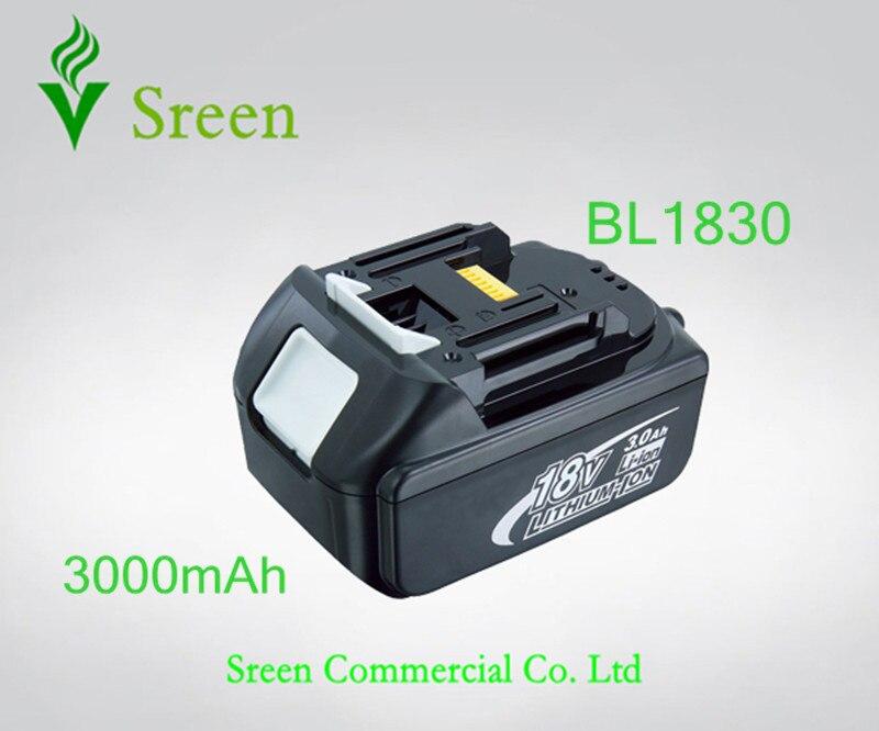Sreen 3000 mAh 18 V BL1830 Rechargeable Au Lithium Ion Power Tool Batterie de Remplacement pour Makita BL1815 194205-3 194230-4 LXT400