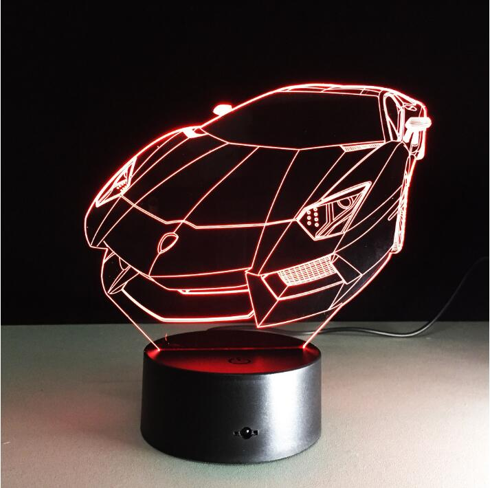 Dropshipping Sports Car 3D LED lamp Acrylic Atmosphere night light 7 Light Colors Children Bedroom Lamp kids Toys with USB Cable