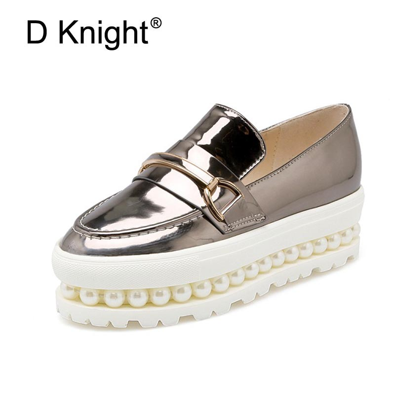 Women Summer Platform Shoes Pearl Creepers Loafers Moccasins Patent Leather Slip On Chaussure Femme White Lady Flats Shoes Woman minika women shoes summer flats breathable lace loafers platform wedges lose weight creepers platform slip on shoes woman cd41