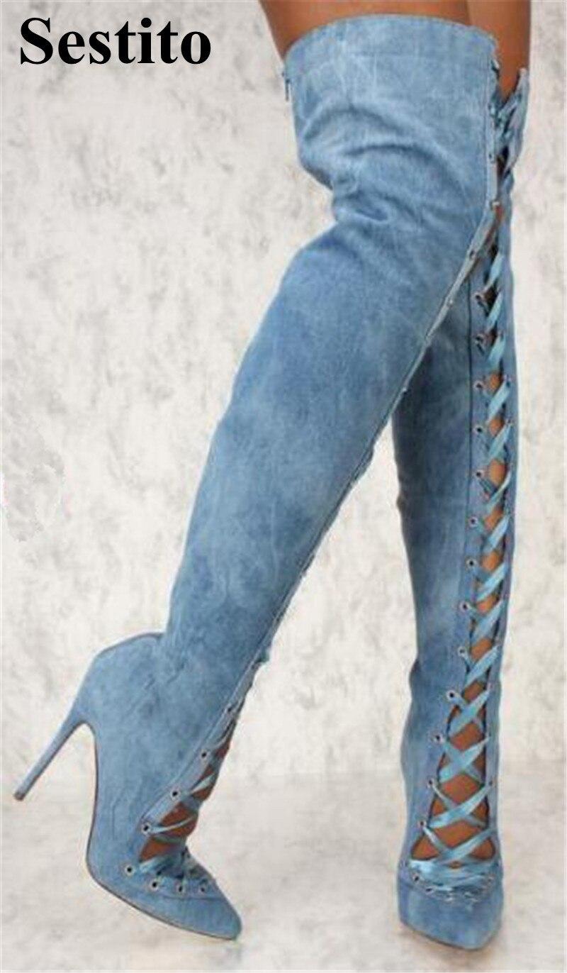 Zip Picture Mode Bout Creux automne Picture the genou Haute attaché Cuisse Bottes as Femmes Denim As Mince Chaussures Talon Over Croix Pointu Printemps fRPfZr