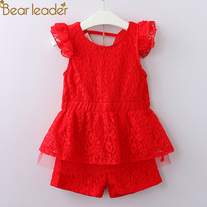 Bear Leader Girls Clothing Sets 2018 Girls New Summer Lace Set Fashion Lotus Leaf Sleeve Top + Shorts 2pcs For 3-7 Years Old flutter sleeve twist front top and wide waist shorts set