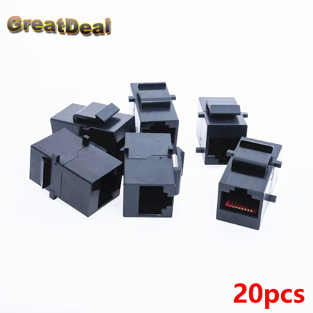 20pcs Cat5 Cat5e RJ45 Connector Plug Socket RJ45 Network Cable Blank Panel Patch RJ45 Extender Plug Joiner Coupler Adapter HY445 joiner s 5 5