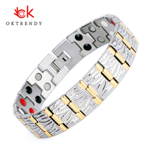 Oktrendy Classic Pure Titanium Magnetic Pain Relief Bracelet For Men Therapy Bracelets with Double Row Hematite Link Chain Homme