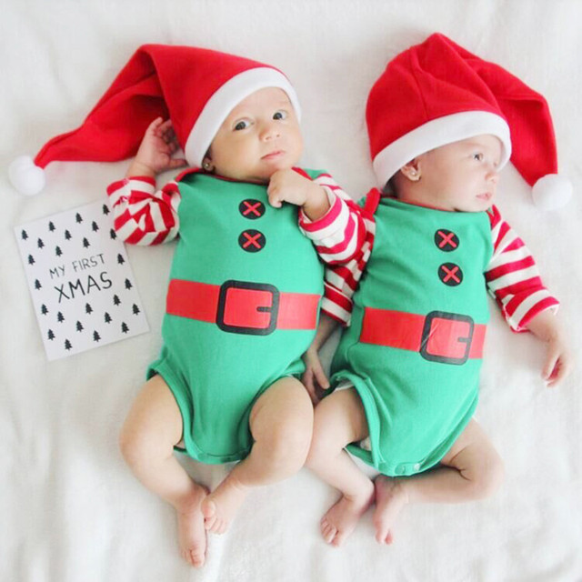 bb7b4baa8166 Xmas Newborn Baby Boy Girl Santa Claus Striped Long Sleeve Jumpsuit Hat Christmas  Costume Fall Winter Clothes  5L