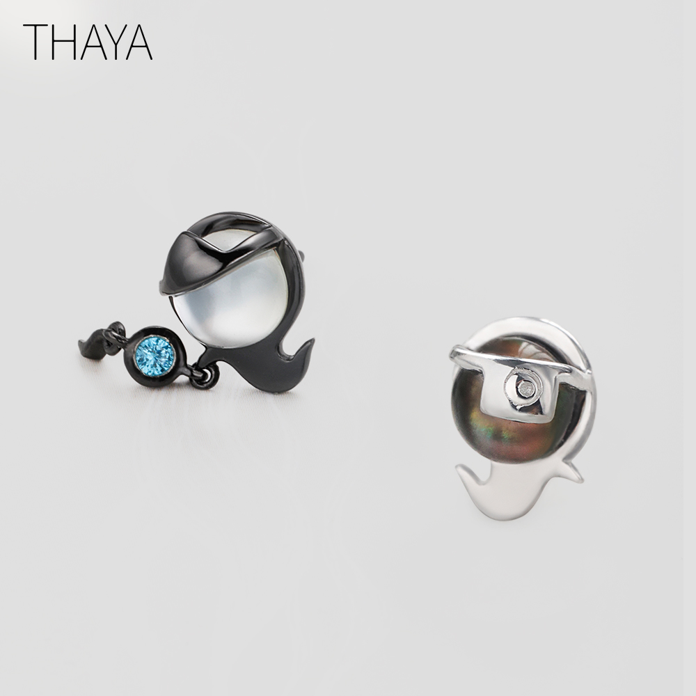 Thaya Ghost Stud Earrings White Crystal Gemstone Opal Secret Color Stud for Women Fine Jewelry Halloween Cute Decoration Gift