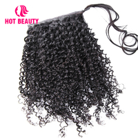 Hot Beauty Hair Clip In Hair Extensions Deep Curly Human Remy Hair Ponytail Brazilian 100g Ponytail 10 28 Can Be Dyed