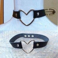 100% El Yapımı Moda Düğme Toka Takı, lolita tatlı büyük büyük kalp perçin deri choker yaka kolye