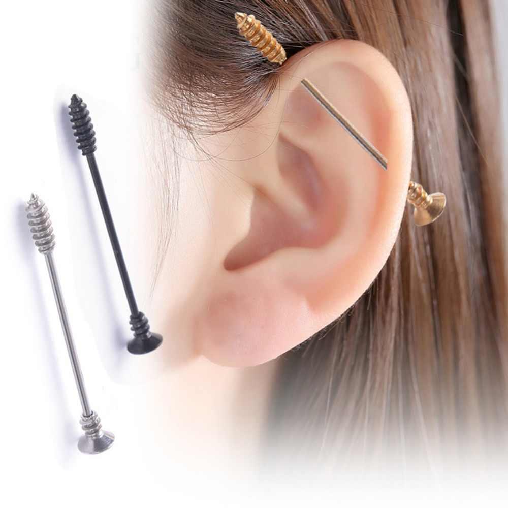 חדש שחור זהב כסף נירוסטה חץ משקולת תעשייתית אוזן Tragus סחוס Helix עגיל הרבעה פירסינג גוף תכשיטים