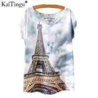 KaiTingu Brand 2016 New Print Fashion Spring Summer Harajuku T Shirt Women Tops Eiffel Tower Printed
