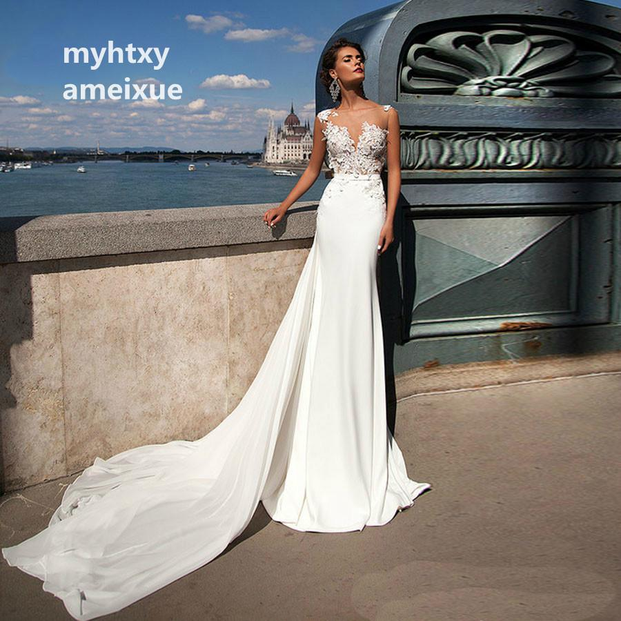 New 2018 Illusion Cheap Mermaid Wedding Dresses With