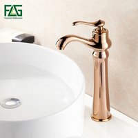 FLG High Quality Single Handle Rose Gold Faucet Bathroom Sink Mixer Tap Basin Faucets Hot and Cold Water Torneira