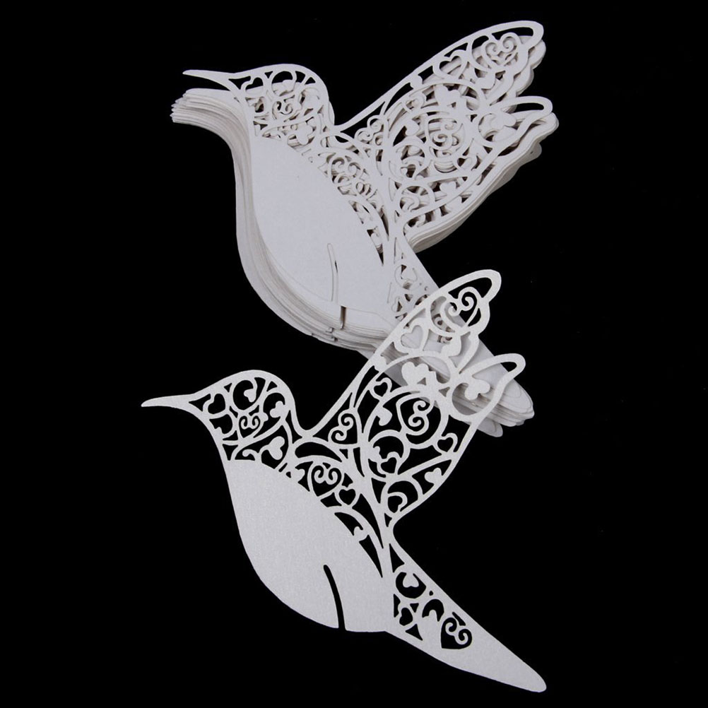 Easter 50PCS Hollow Birds Style Wedding Table Paper Place Glass Card ...