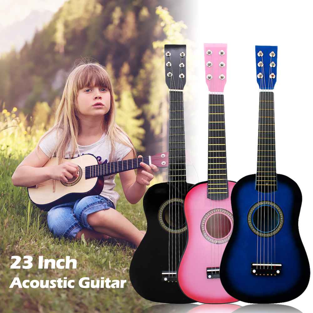 IRIN Mini 23 Inch Basswood Acoustic 12 Frets 6 Strings Guitar with Pick and Strings for Children