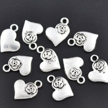 50Pcs Silver Tone Rose Flower Heart Metal Pendants DIY Jewelry Findings Charms 15mm