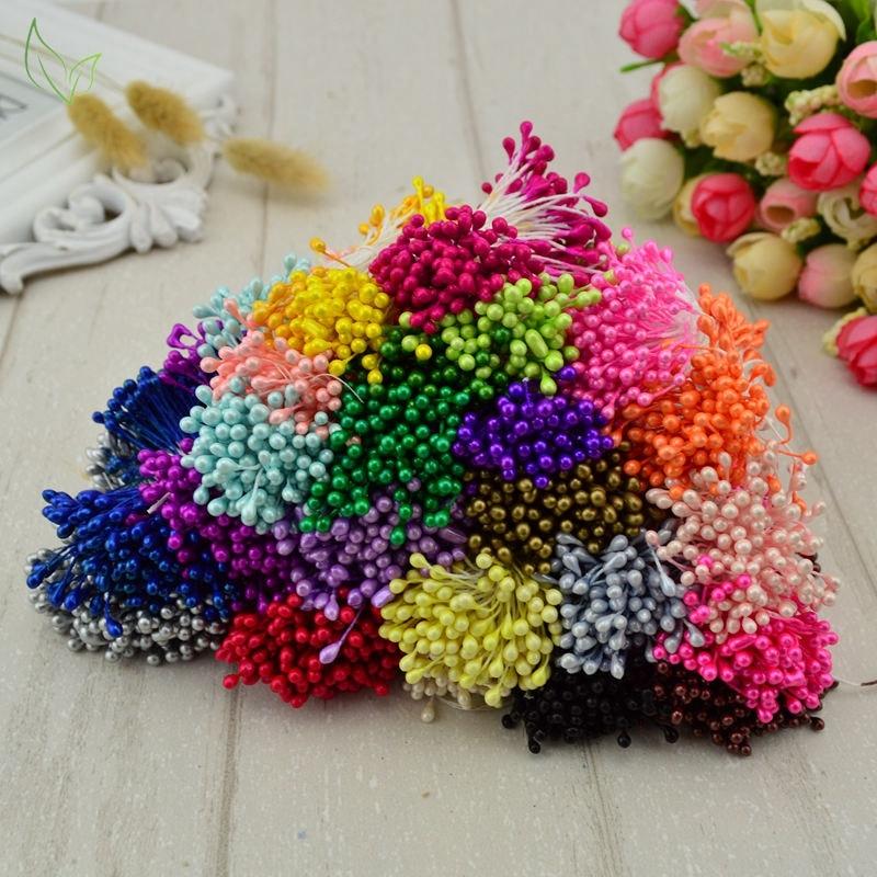 300 pcs mini pearl stamen sugar handmade artificial flower for wedding decoration diy needlework scrapbooking wreath fake flower