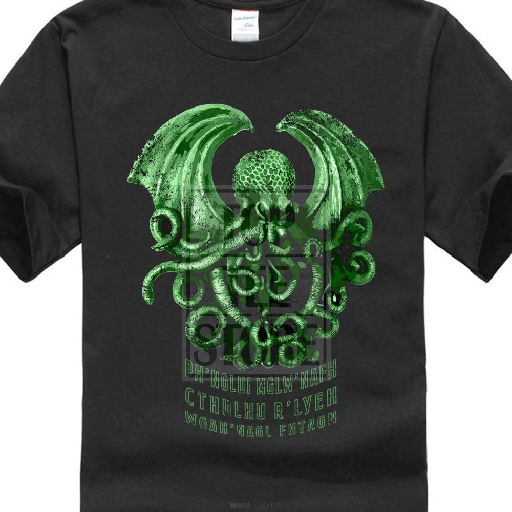 Printed Tee Shirts Short Sleeve Cthulhu R?Lyeh T Shirt Wars Horror Arkham H. P. Lovecraft Miskatonic T Shirt